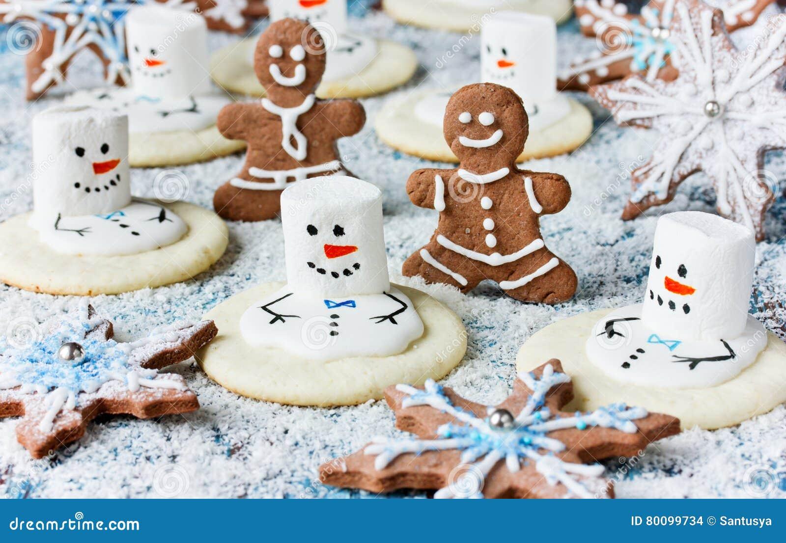 Christmas Cookies - melting snowman, gingerbread man, snowflake