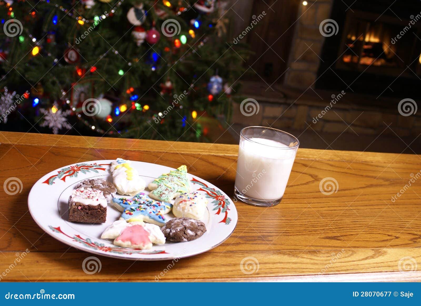 christmas cookies and milk fireplace tree stock image image