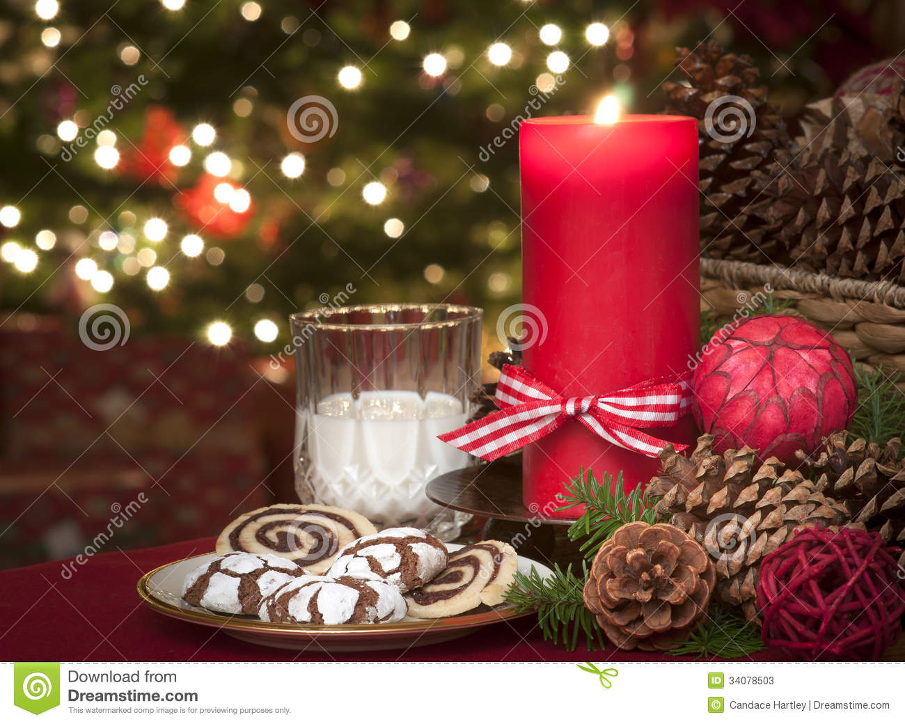 Christmas Cookies And Milk Waiting For Santa Claus In Candle Light ...
