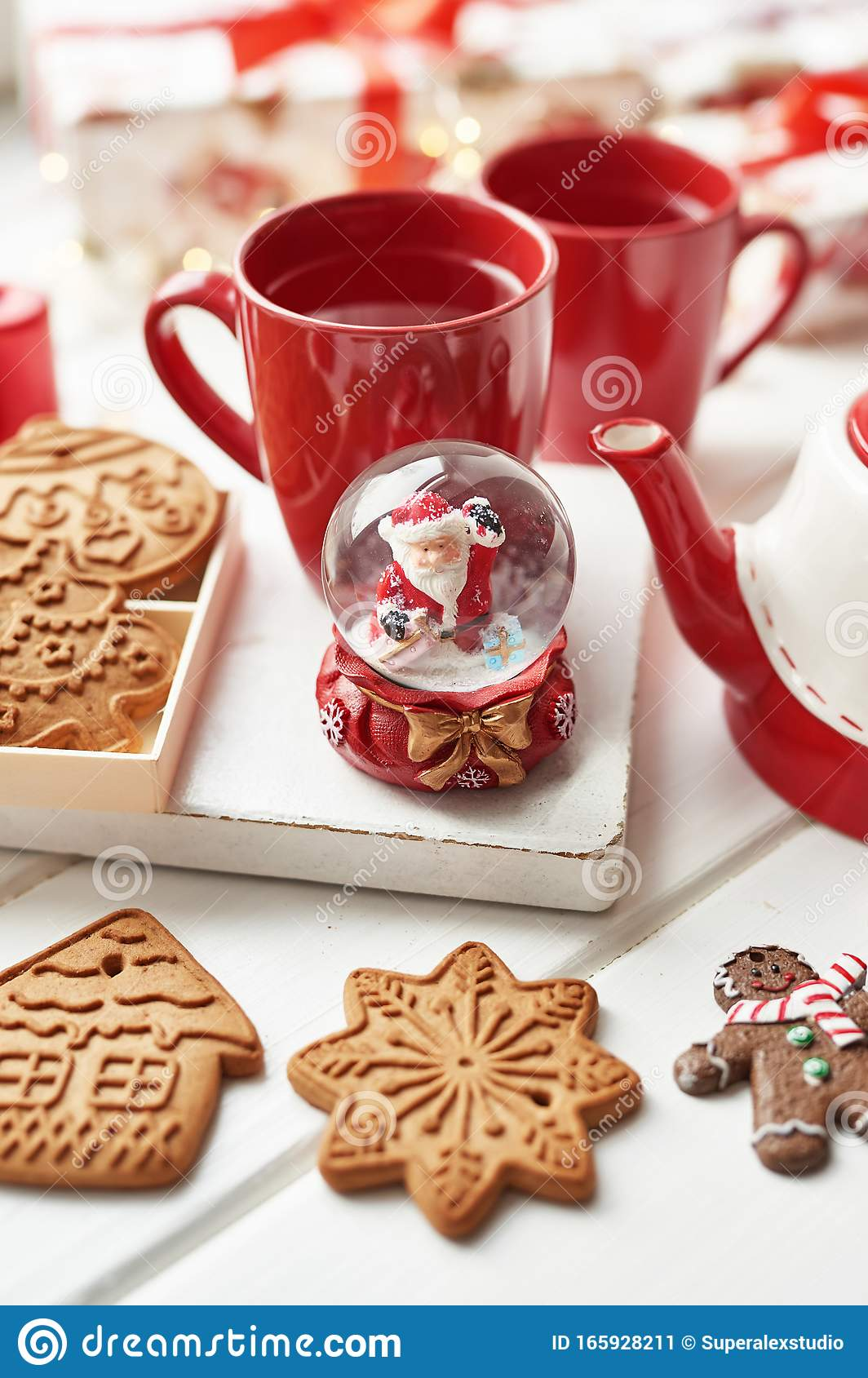 Christmas Cookies And Mug Of Hot Tea Christmas Time Christmas Gingerbread Candy Coffee In Red Cup On Wooden Table On Frosty Stock Image Image Of Cookie Candy 165928211