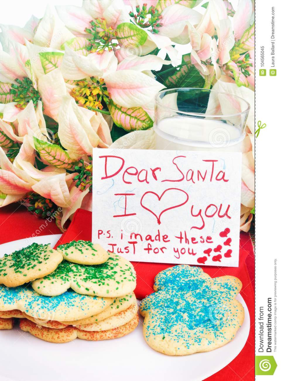 Christmas Cookies And A Note To Santa Claus Stock Image Image Of