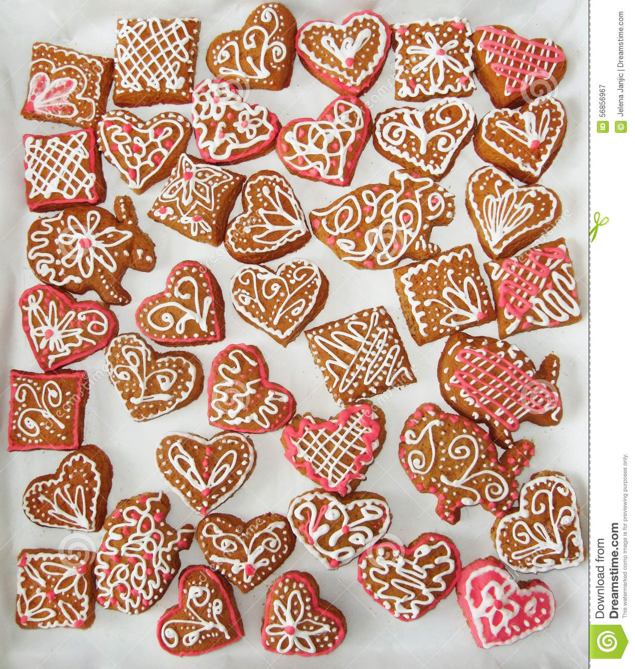 Christmas Cookies With Pink And White Decoration Stock Image