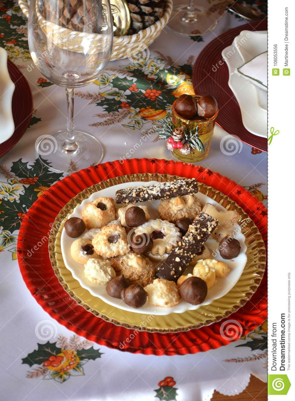 christmas cookies on a plate on a decorated table dessert of cookies plate perfect for