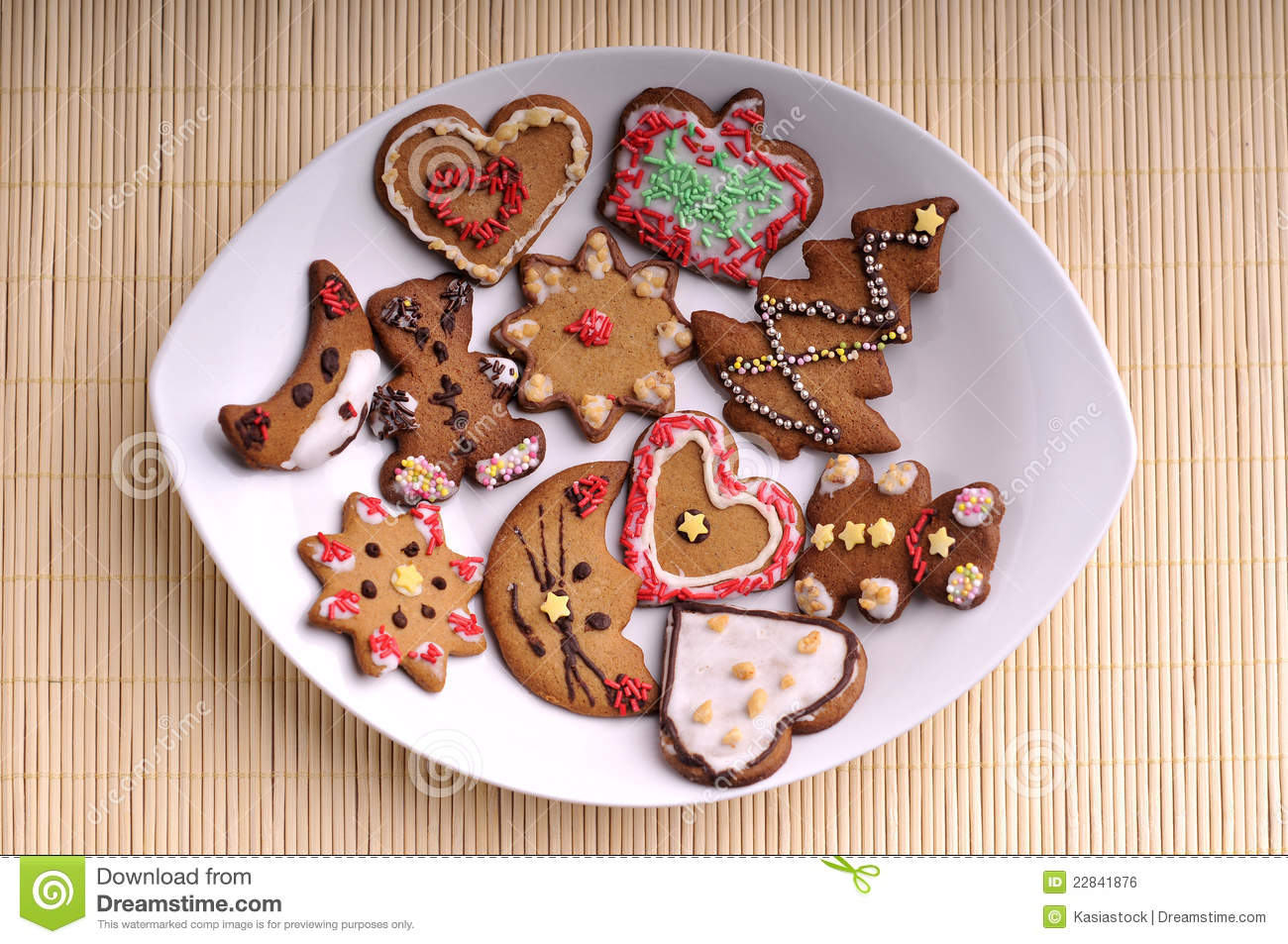 Christmas Cookies On A Plate - Top View Royalty Free Stock Image ...
