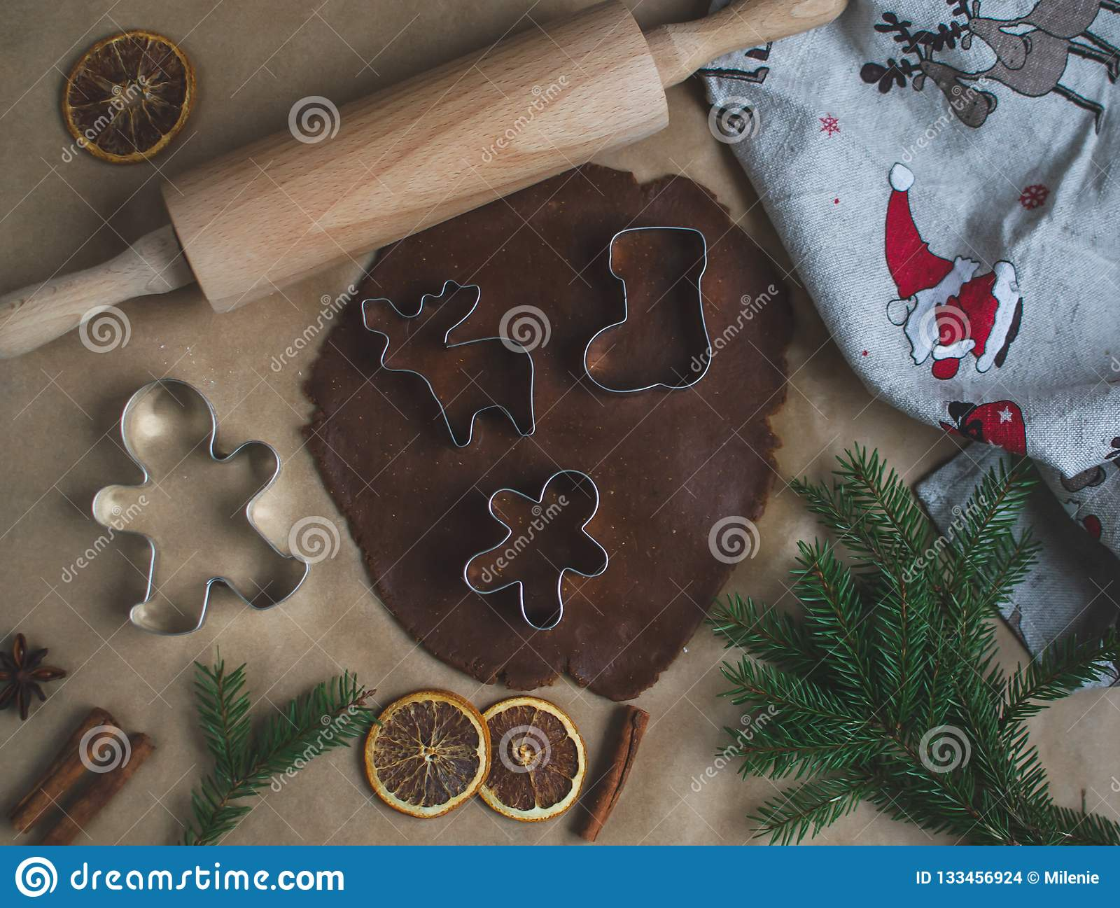 Christmas Cookies Preparation, Dough, New Year Concept, Background, Food, Rolling Pin Metal Form Star Gingerbread Man