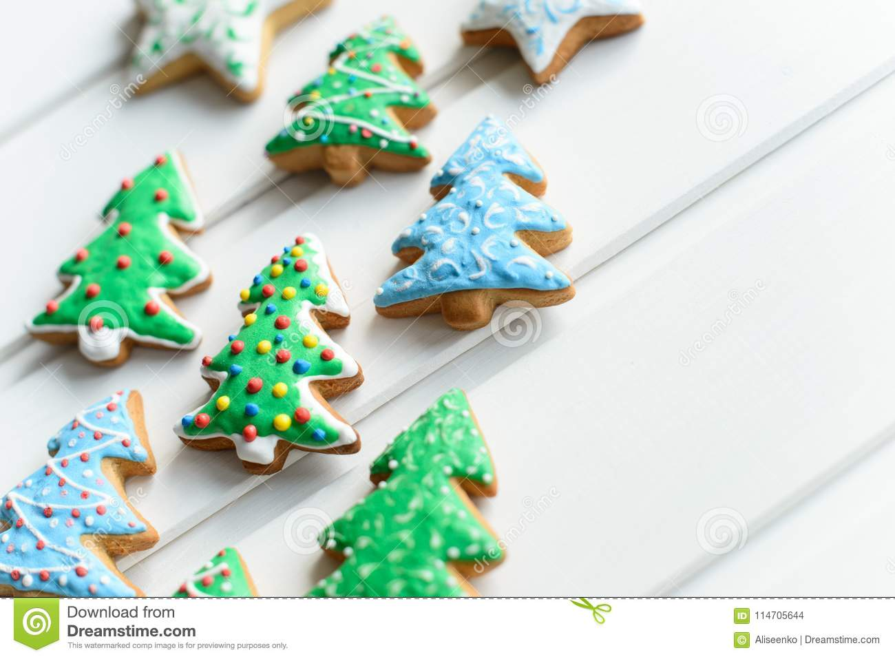 Christmas Cookies In Shape Of Fir-tree With Festive Decoration On ...