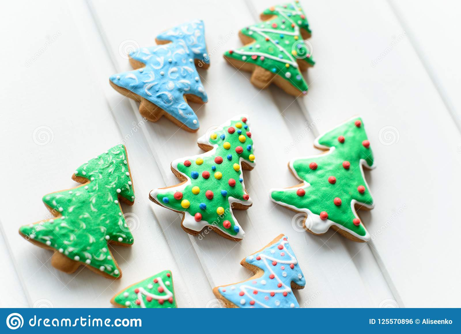 Christmas Cookies In Shape Of Fir Tree With Festive Decoration On