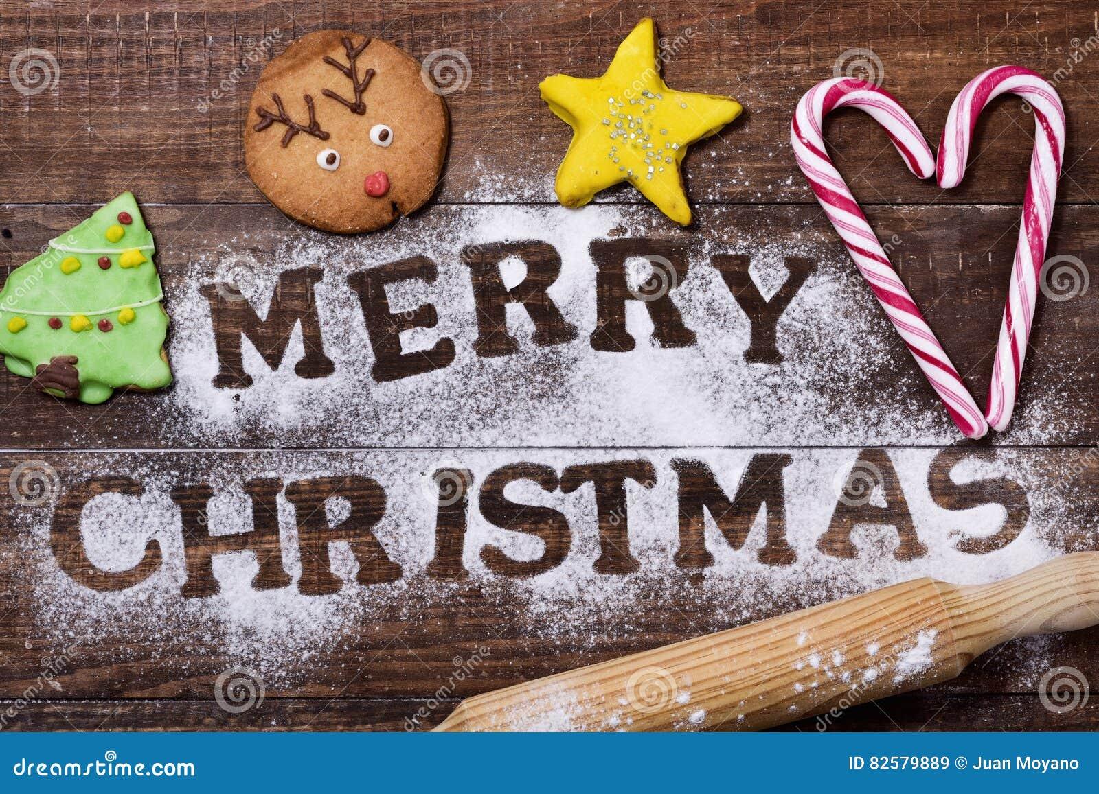 Christmas Cookies And Text Merry Christmas Stock Image Image Of