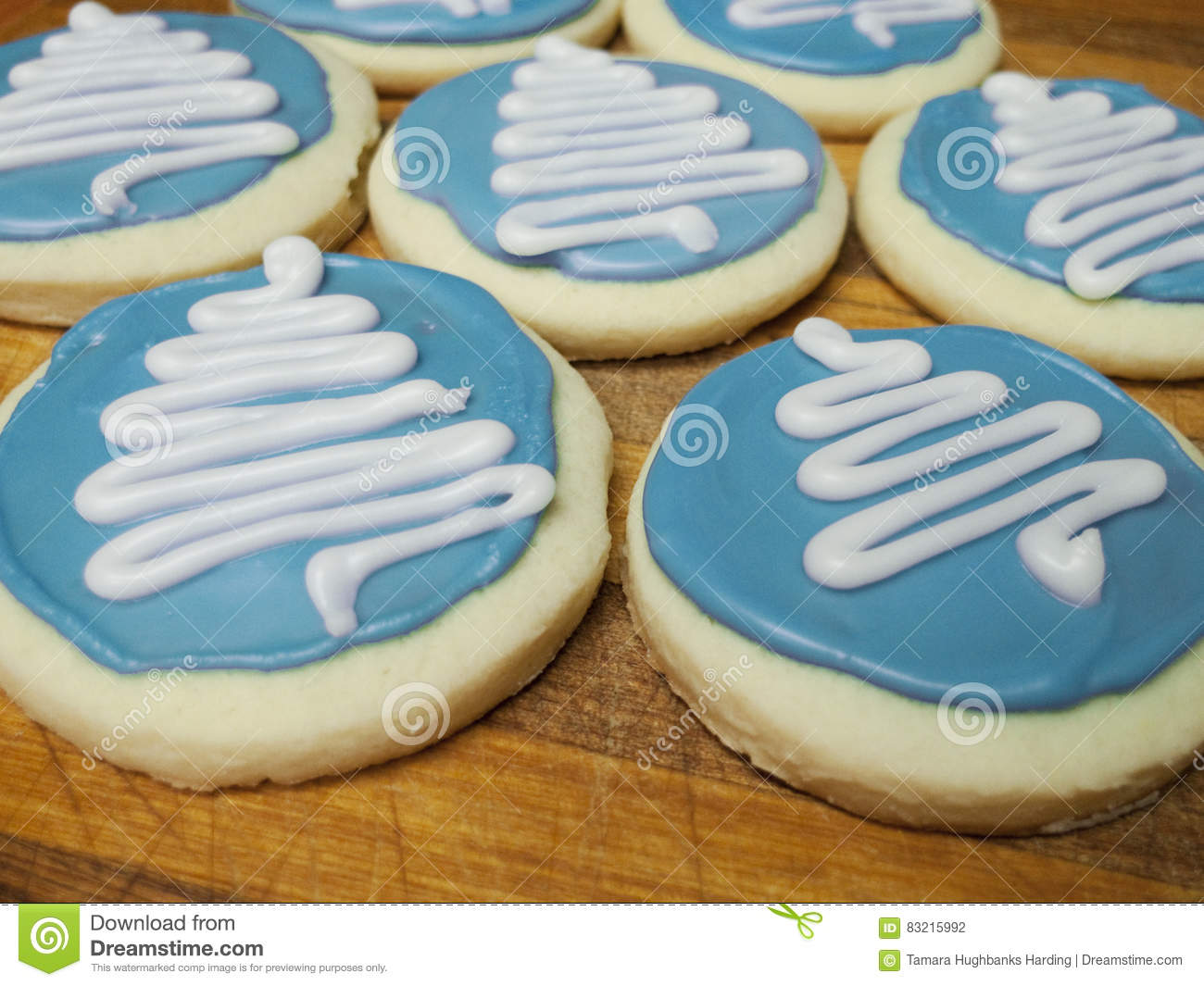Christmas Cookies With Tree Design Many Stock Photo Image Of Blue
