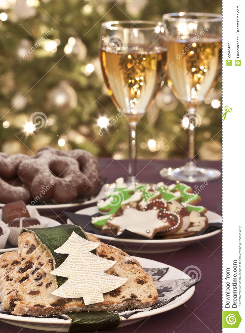 Christmas Cookies With Wine Stock Image Image Of Delicious