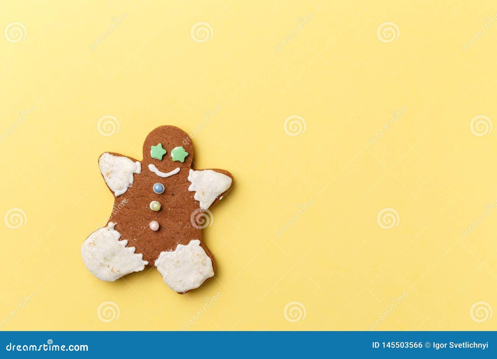 Christmas cookies on yellow background