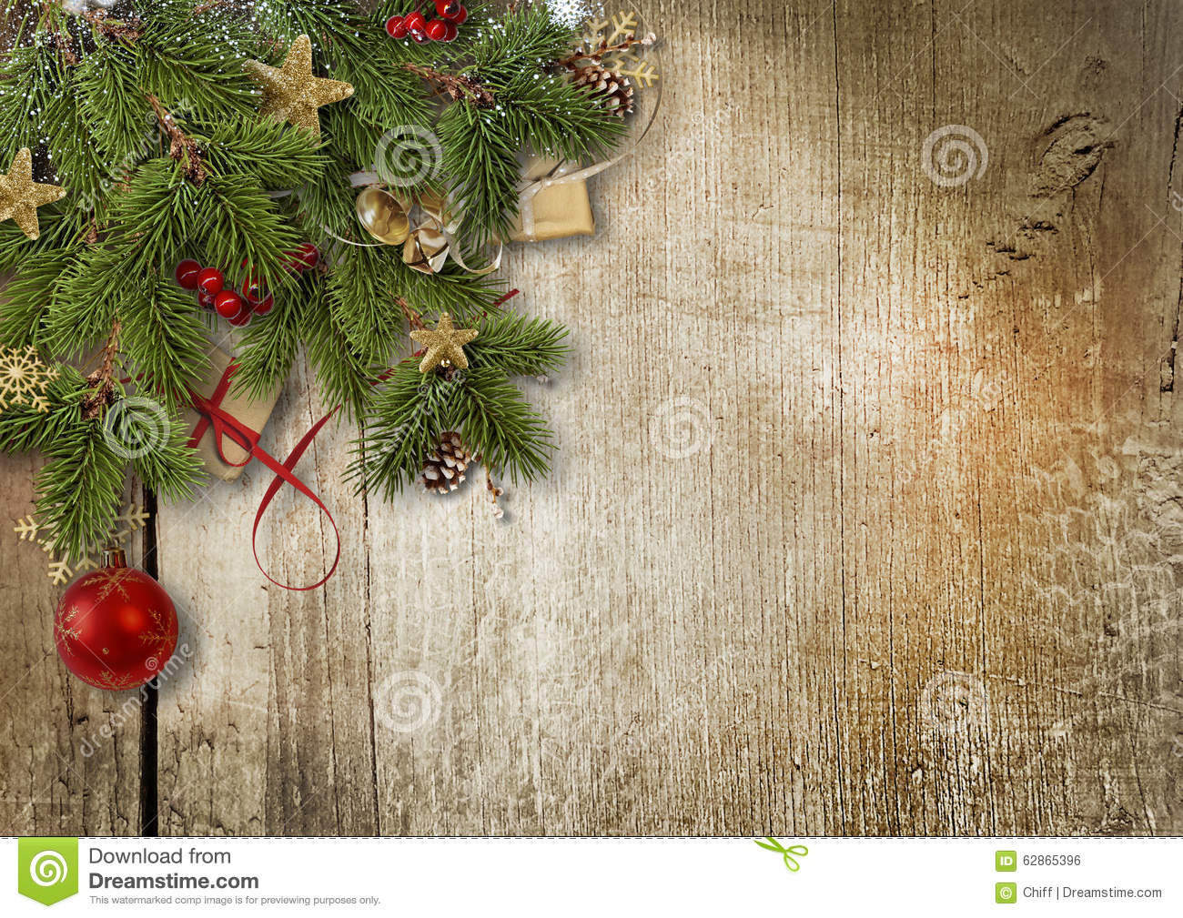 Christmas Corner Border Decor On Wood Stock Photo Image Of