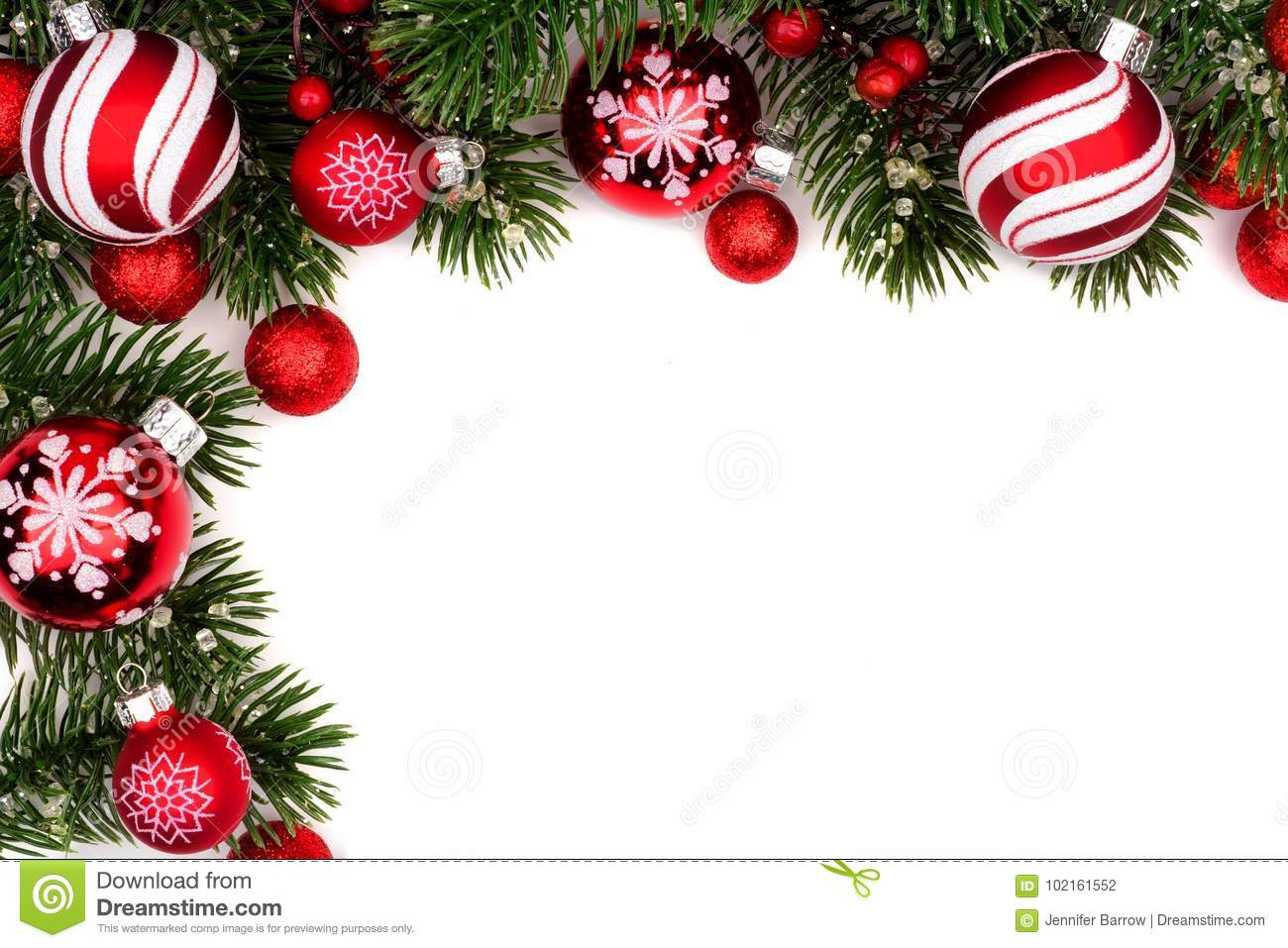 d8d9a8e58dc7 Christmas corner border of red and white baubles with branches isolated on  a white background