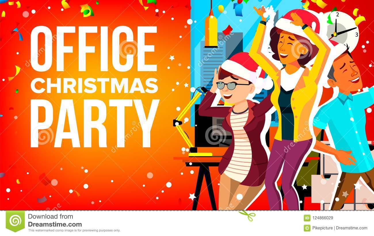 Office Christmas Party Vector. Businesspeople Team. Holiday ...
