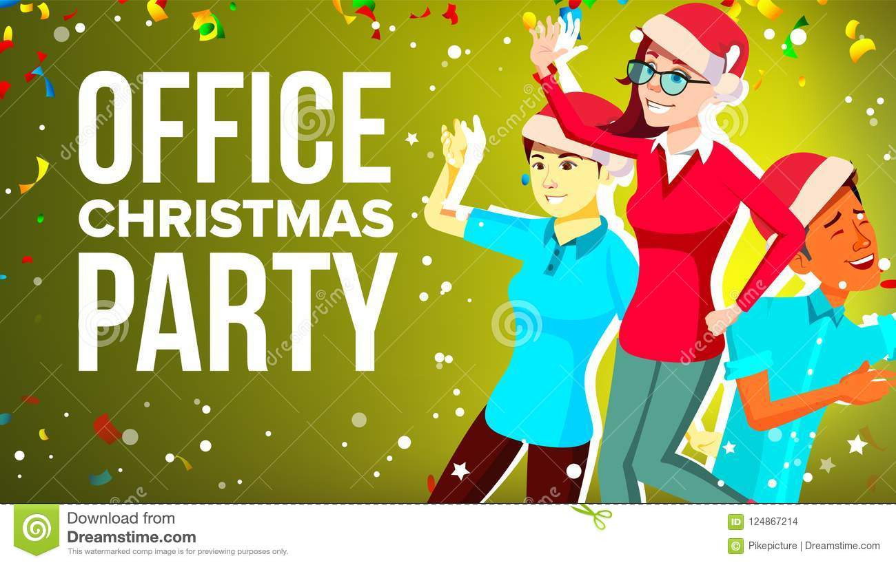 Christmas Party Images Cartoon.Christmas Corporate Party Vector Merry People Mixed Race