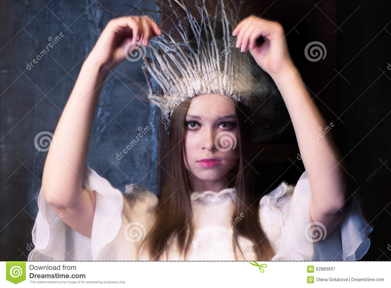Christmas Costume Party.white Witch Or A Snow Queen Stock Photo ...
