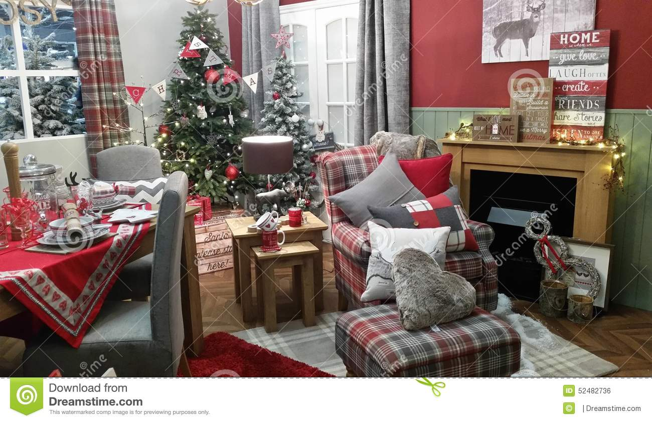 Christmas Cosy Winter Living Room Decoration Setting Stock