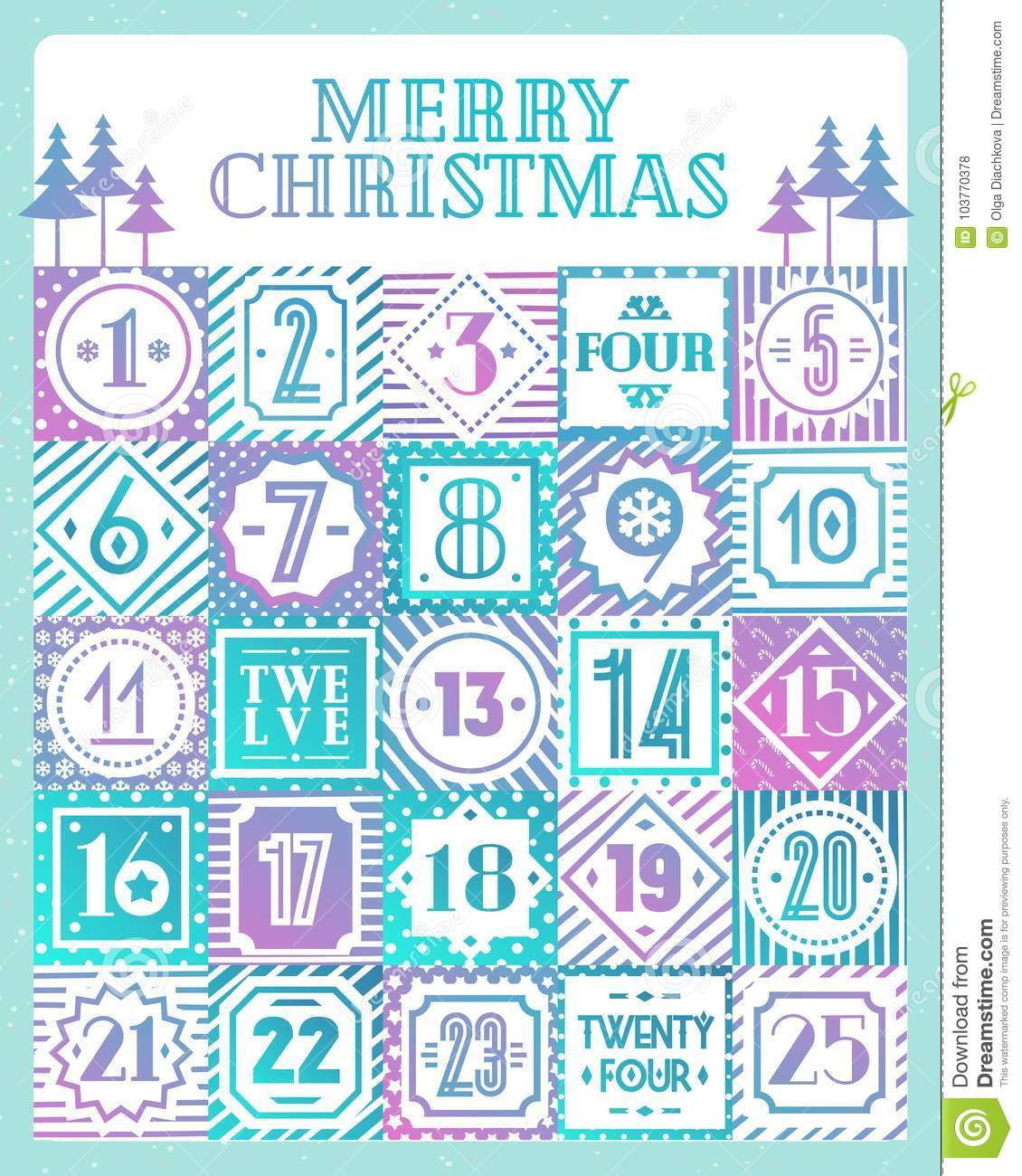 graphic about Printable Christmas Countdown Calendar named Xmas Countdown Calendar Printable Tags Coloration Design With