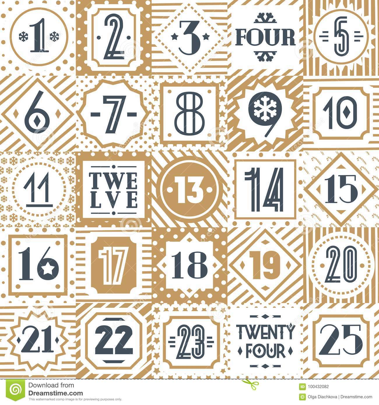 graphic relating to Printable Number Tags named Xmas Countdown Printable Tags Choice Gold Structure