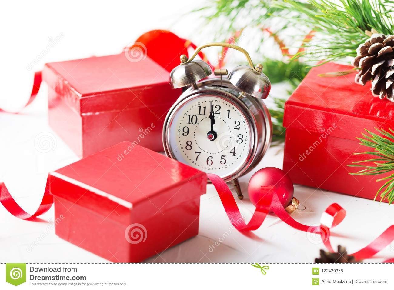 download christmas countdown to the new year clock and balls and fir spr stock photo