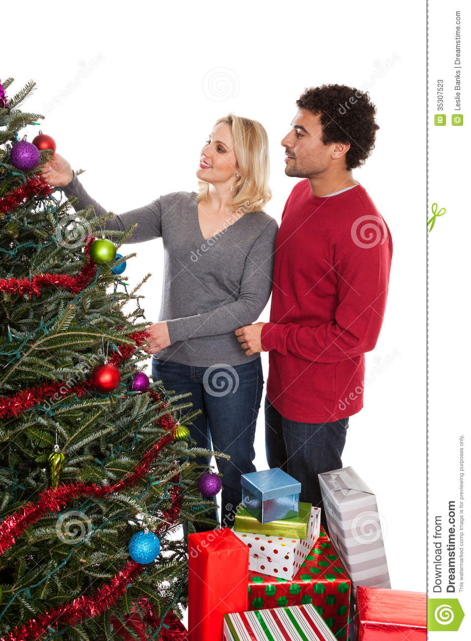 download christmas couple decorating tree stock image image of season middle 35307523