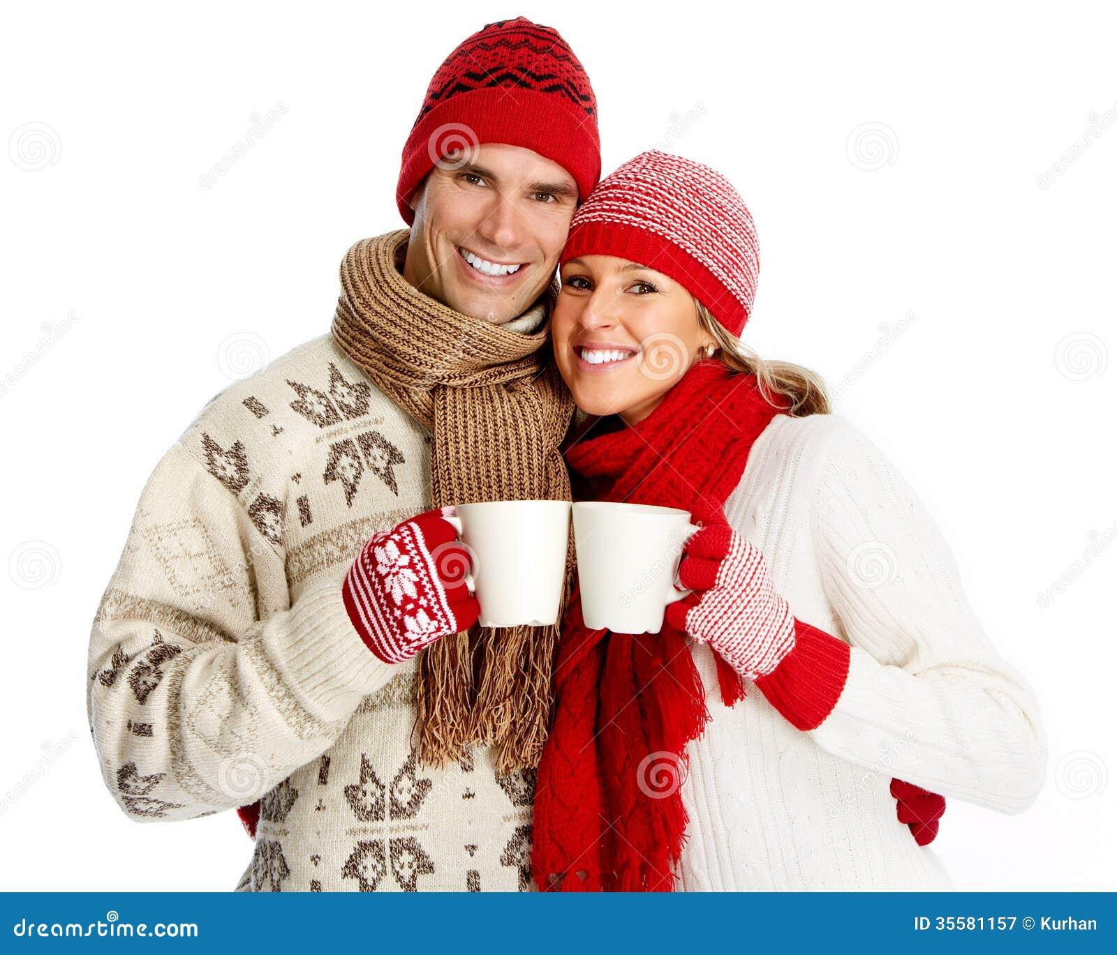 christmas couple drinking hot tea