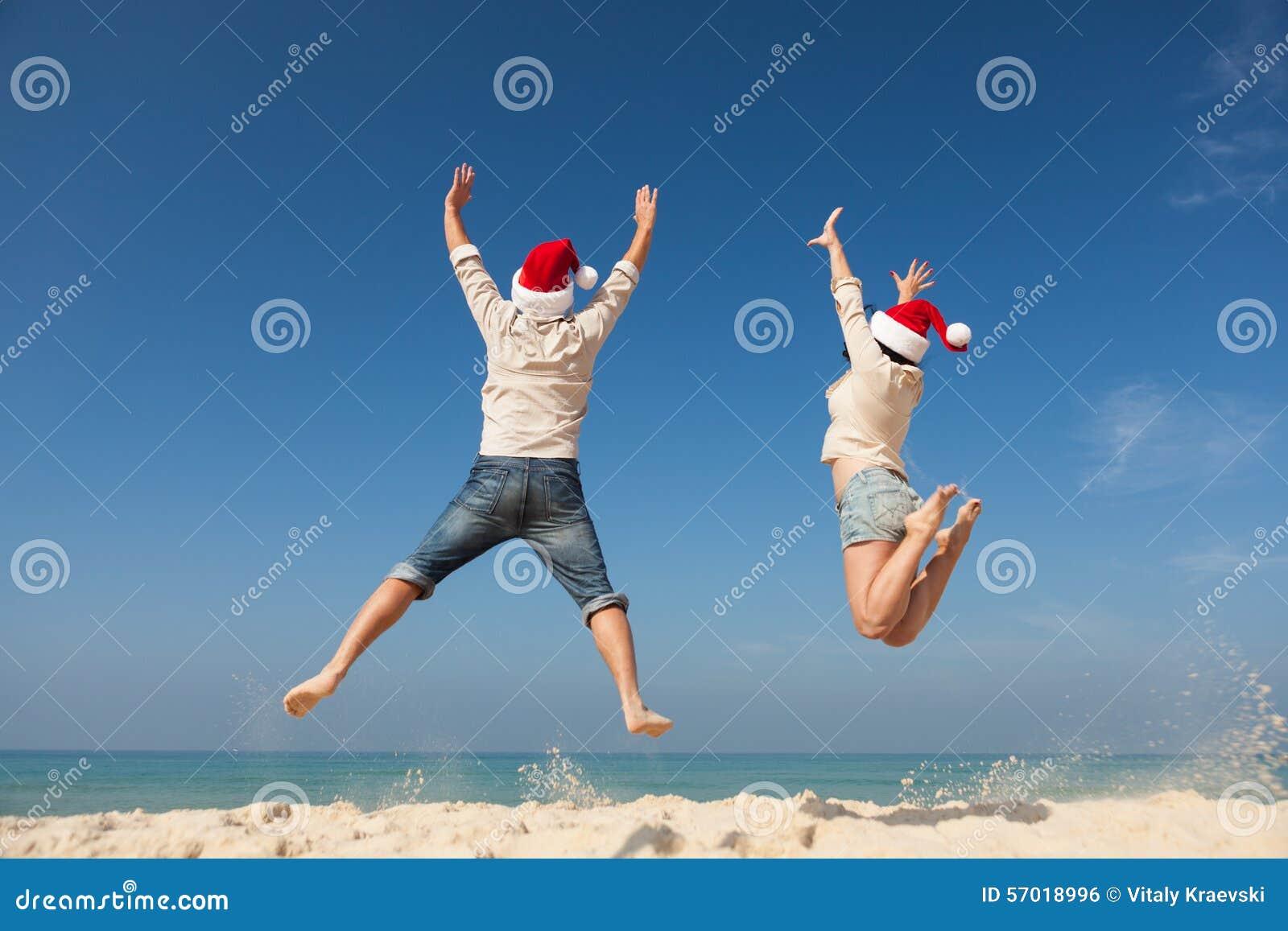 Christmas couple jumping