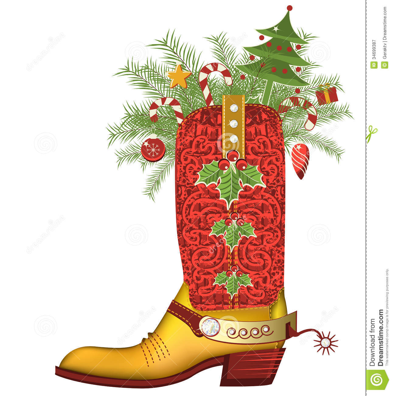 Christmas Shoe.Christmas Cowboy Boot Luxury Shoe Isolated On Whit Stock
