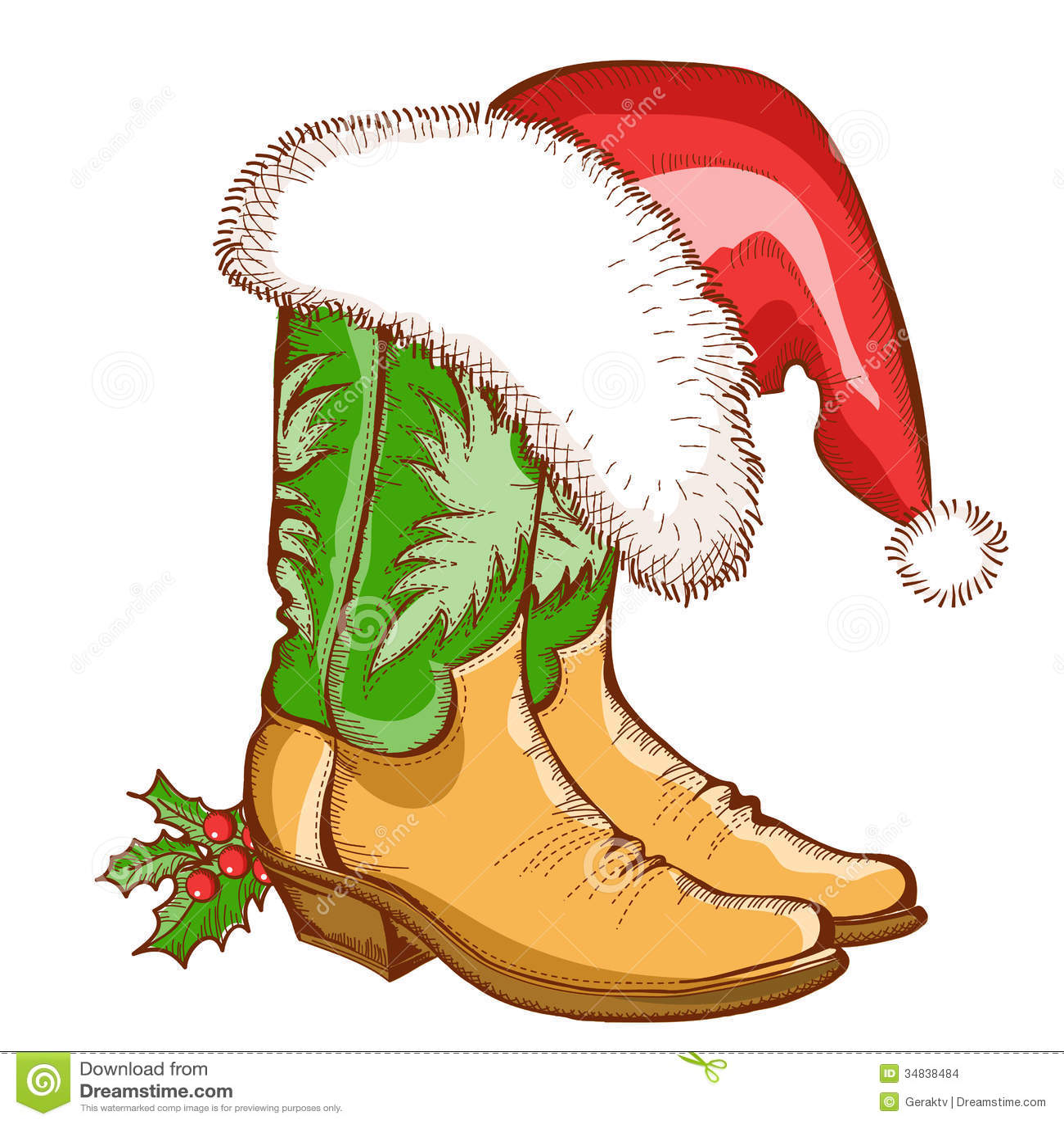 Christmas Cowboy Boots And Santa Hat Stock Images - Image ...