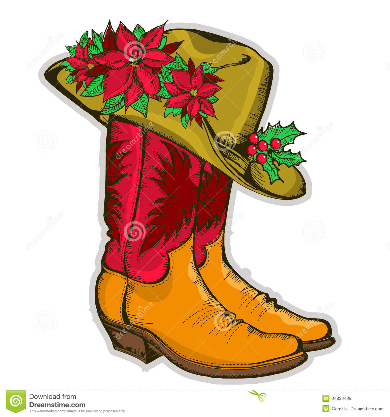 Christmas Cowboy Boots And Western Hat With Holida Royalty