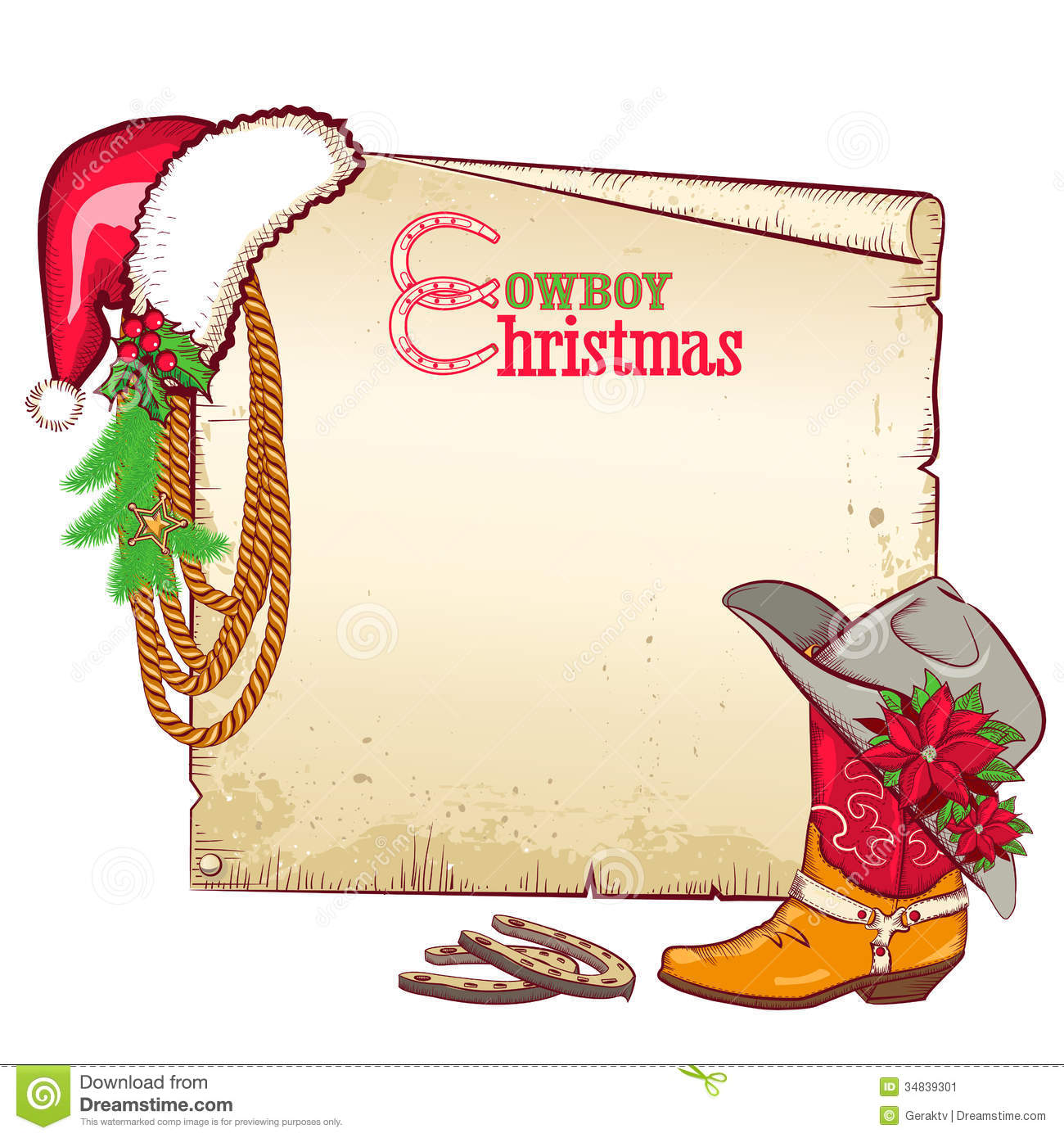 Christmas cowboy paper for text vector card backgr stock image image