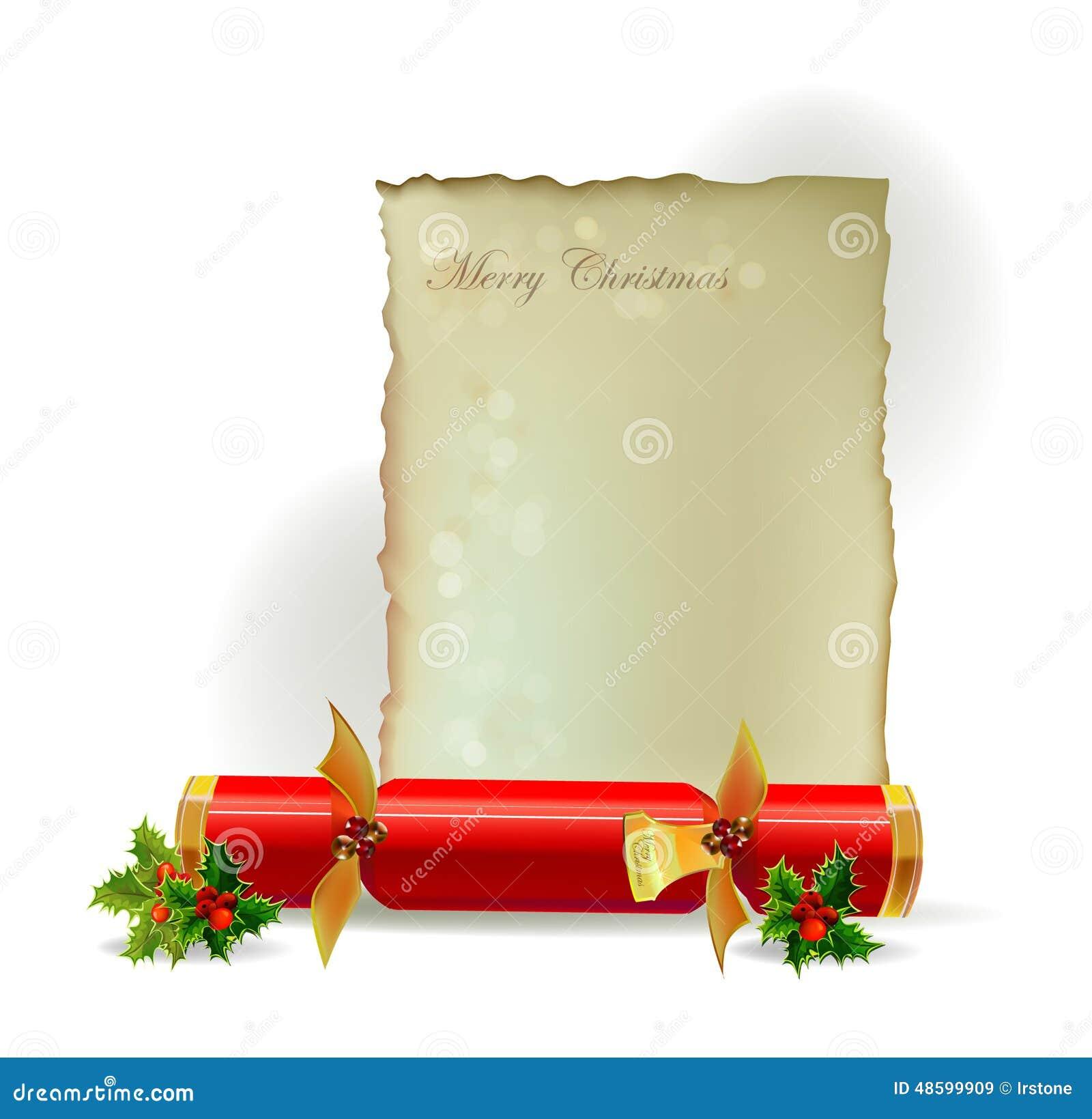 Christmas Cracker Template.Christmas Cracker And Letter Template Stock Illustration