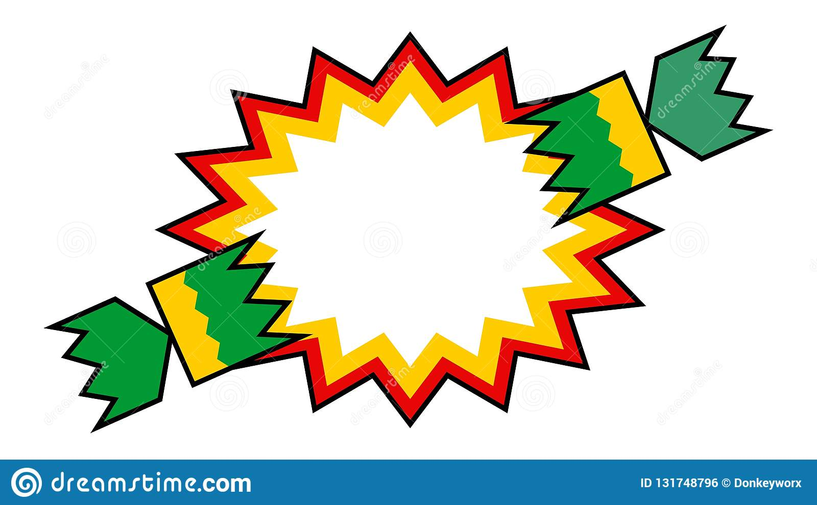 Christmas Cracker Vector.Christmas Cracker Pulled With Starburst Strong Outline Stock
