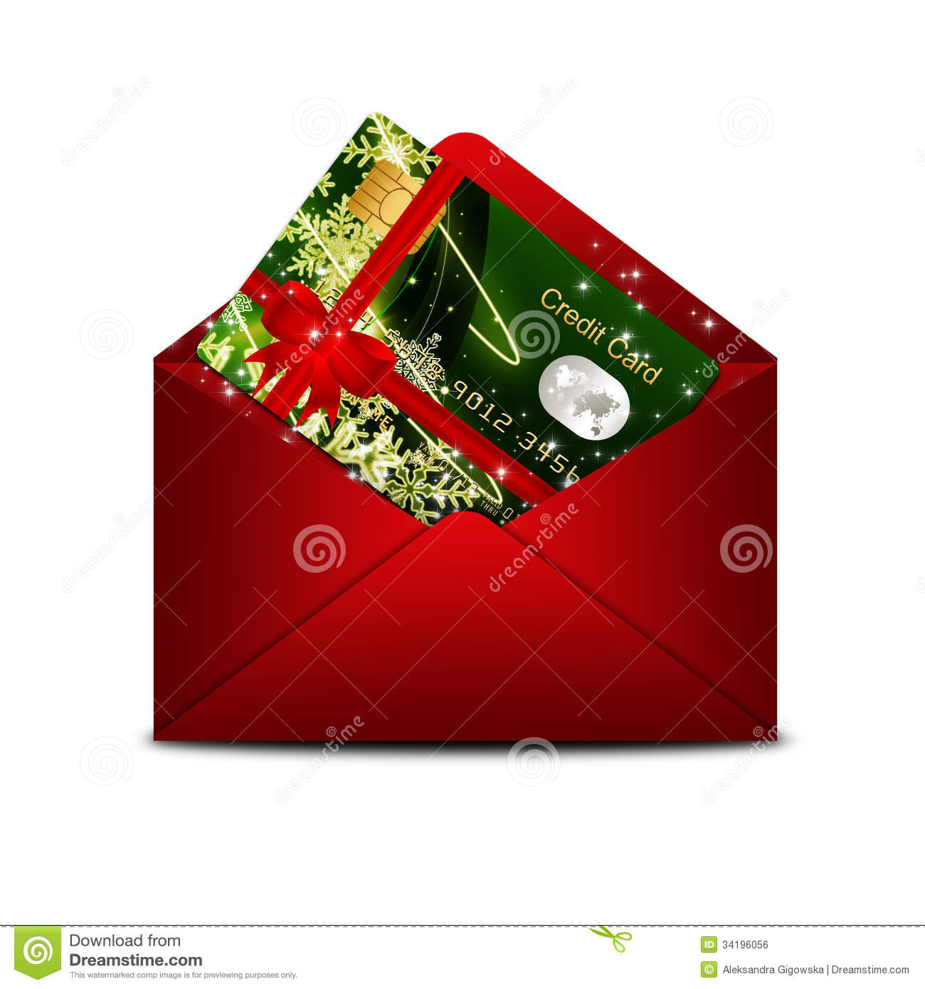 Envelope With Merry Christmas Card Over White Background Stock ...