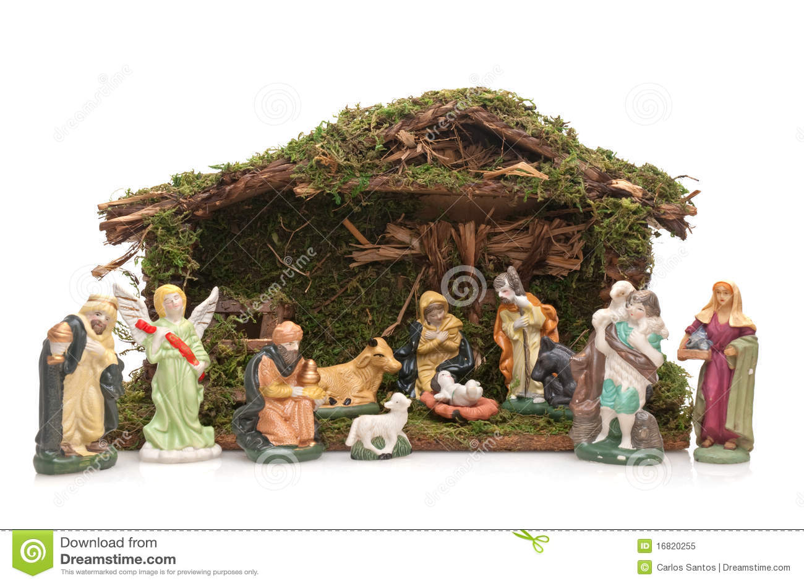 Christmas Crib Isolated On White Background Royalty Free Stock Photo