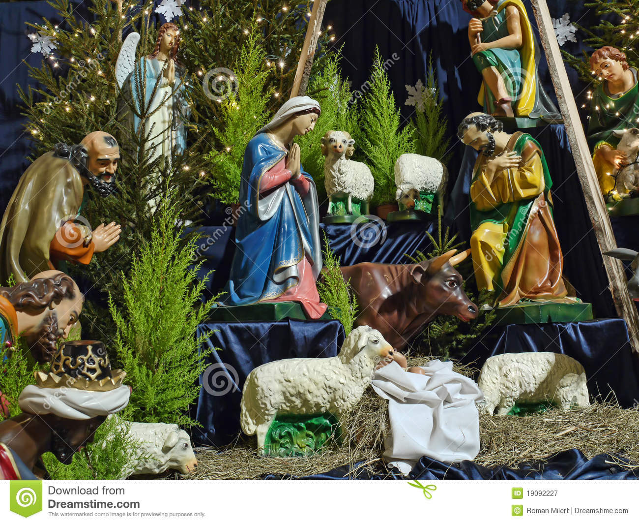 Christmas Crib Figures Representing Holy Family Three Wisemen Shepherds And Animals Royalty Free