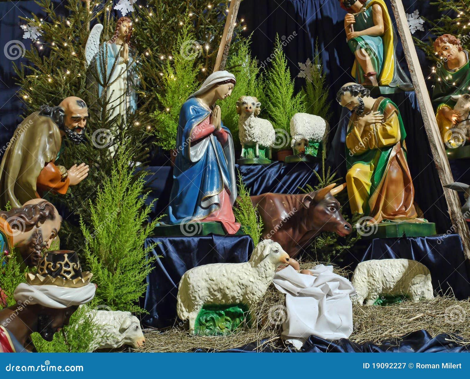 Christmas Crib Figures Representing Holy Family Three Wisemen Shepherds And Animals Royalty Free