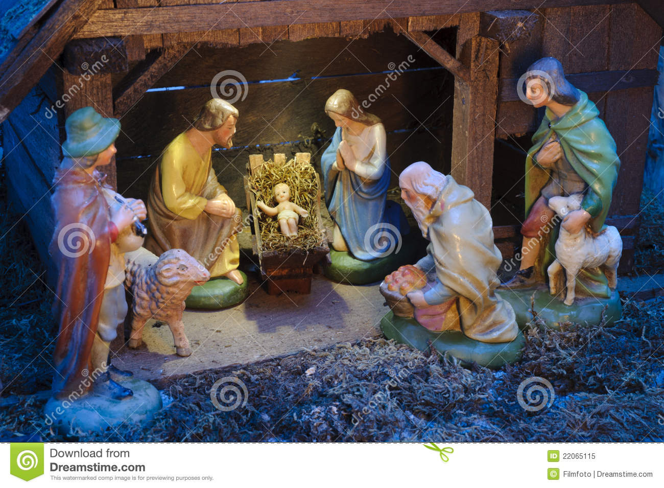 Christmas Crib Images Hd.Christmas Crib Stock Image Image Of Child Father Gift