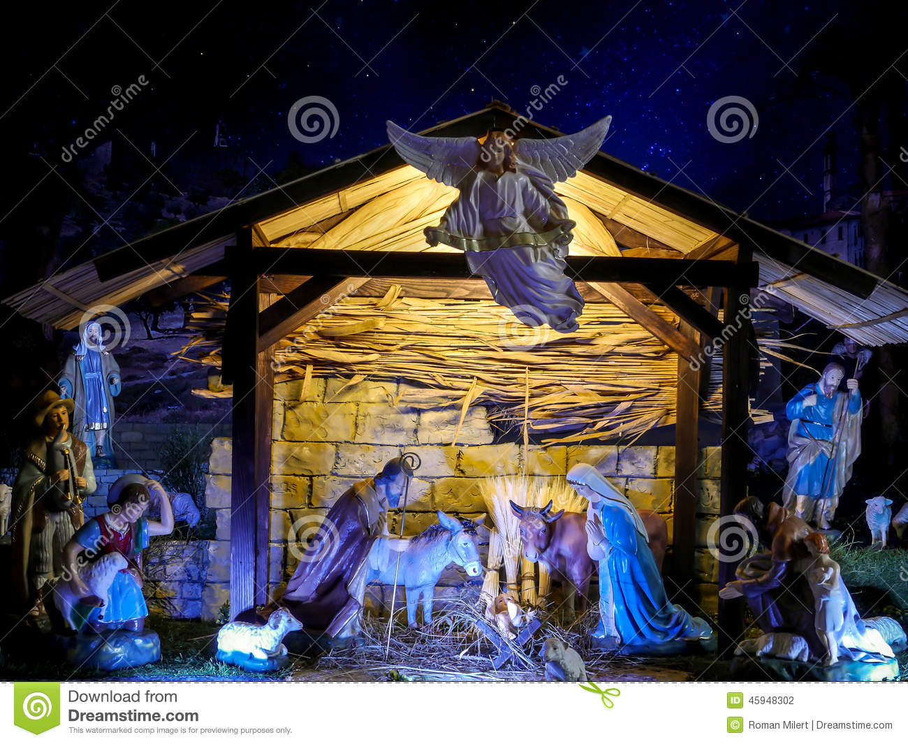 Christmas Crib Traditional Figures Representing Holy Family Three Wisemen Shepherds And