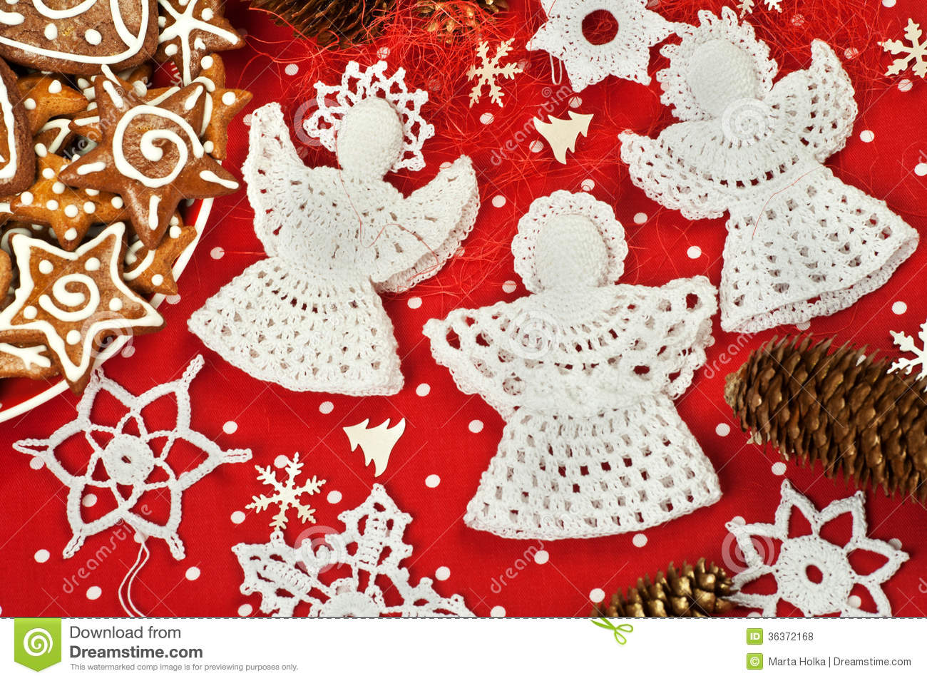 christmas crochet decorations stock photo