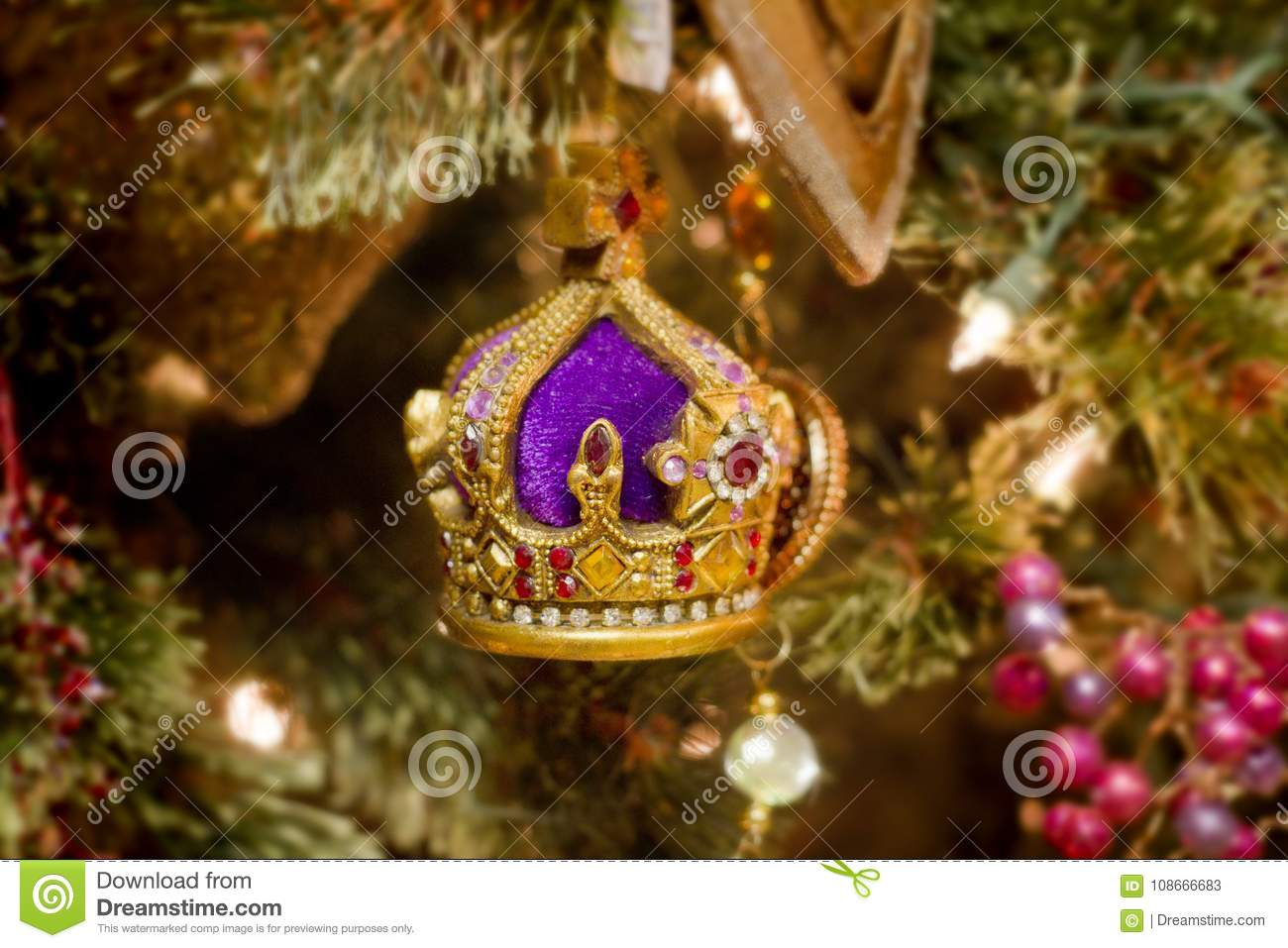 Crown Christmas Ornaments.Christmas Crown Ornament On A Tree Stock Image Image Of