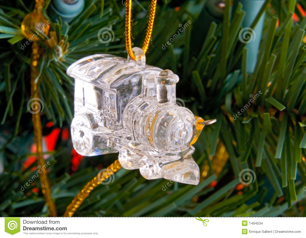royalty free stock photo download christmas crystal train decorations on a tree - Train For Christmas Tree