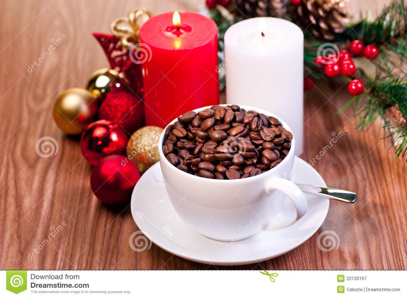 ... Free Stock Photography: Christmas cup of coffee beans on wooden table