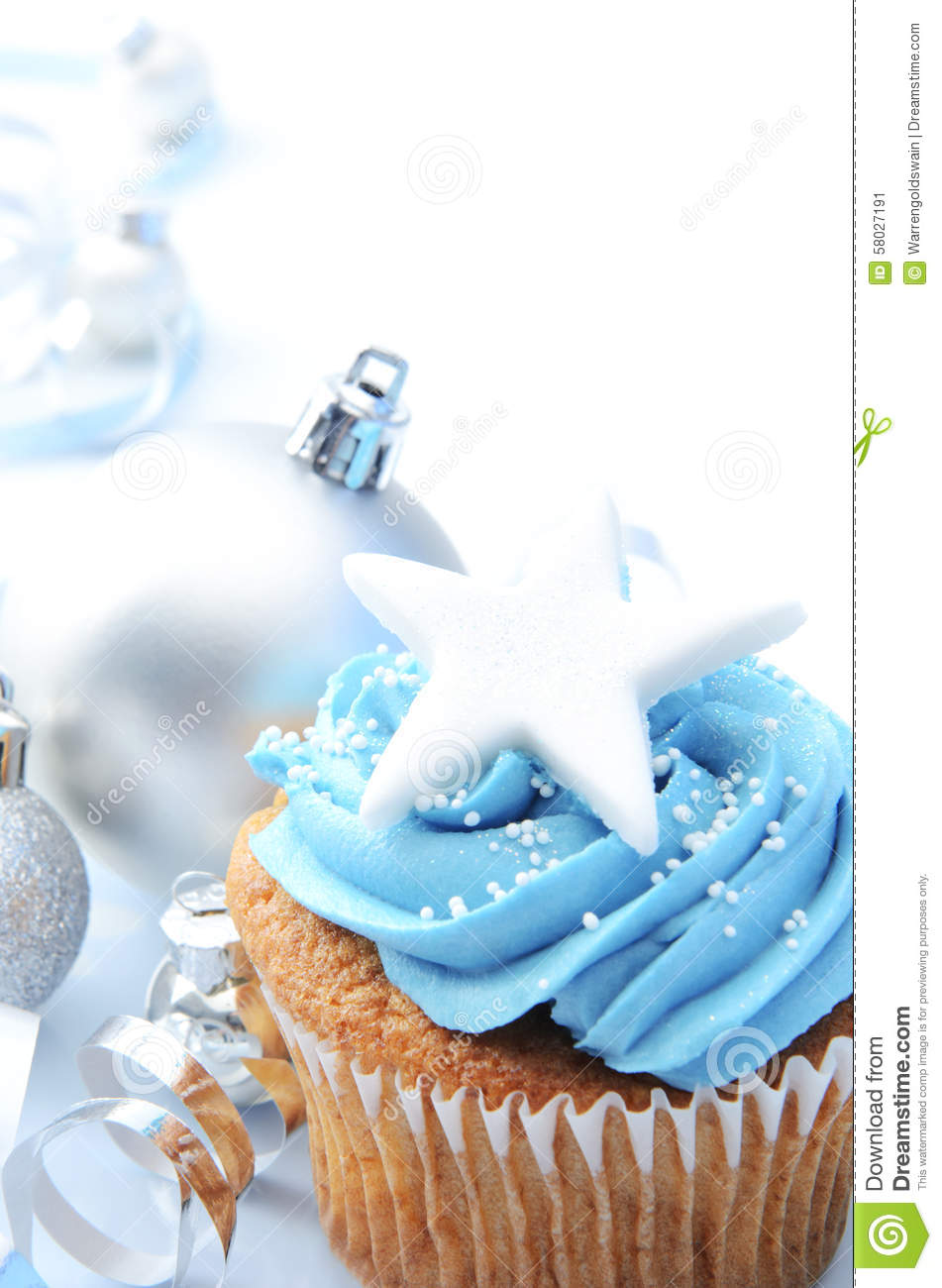 Christmas Cupcake With Silver Ornaments Stock Photo ...