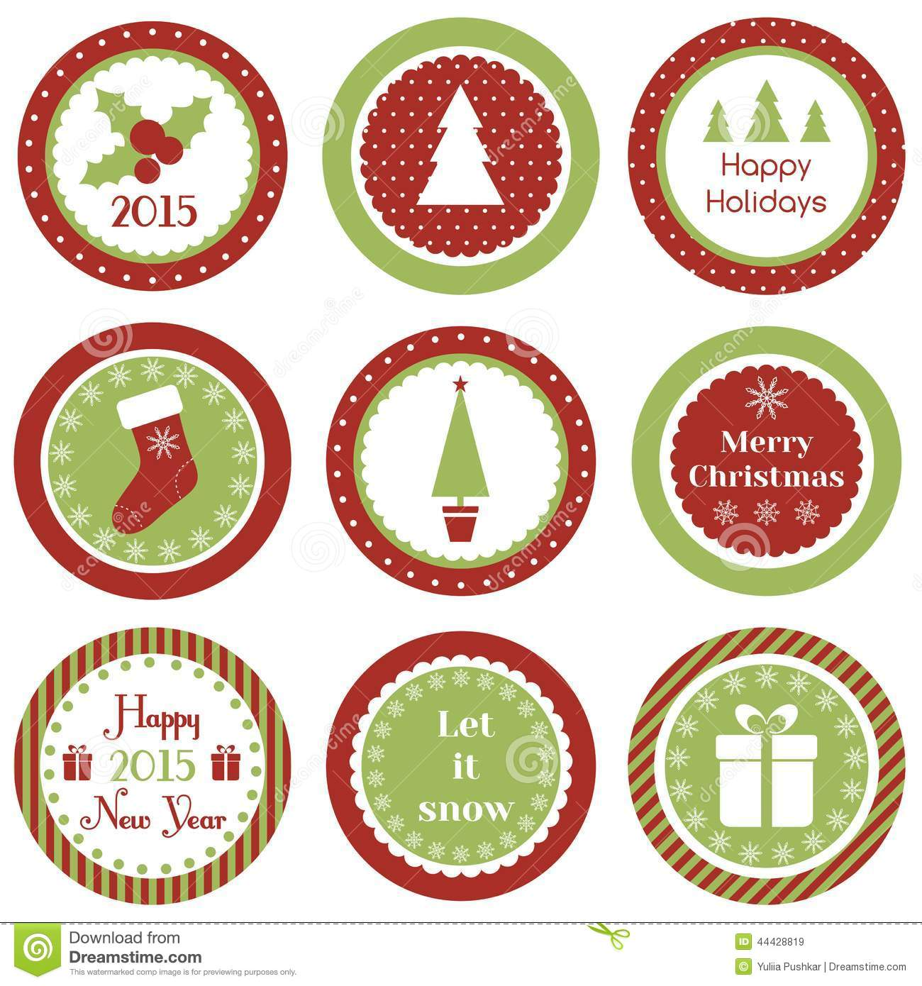 Christmas Cupcake Toppers Stock Vector Image Of Holiday