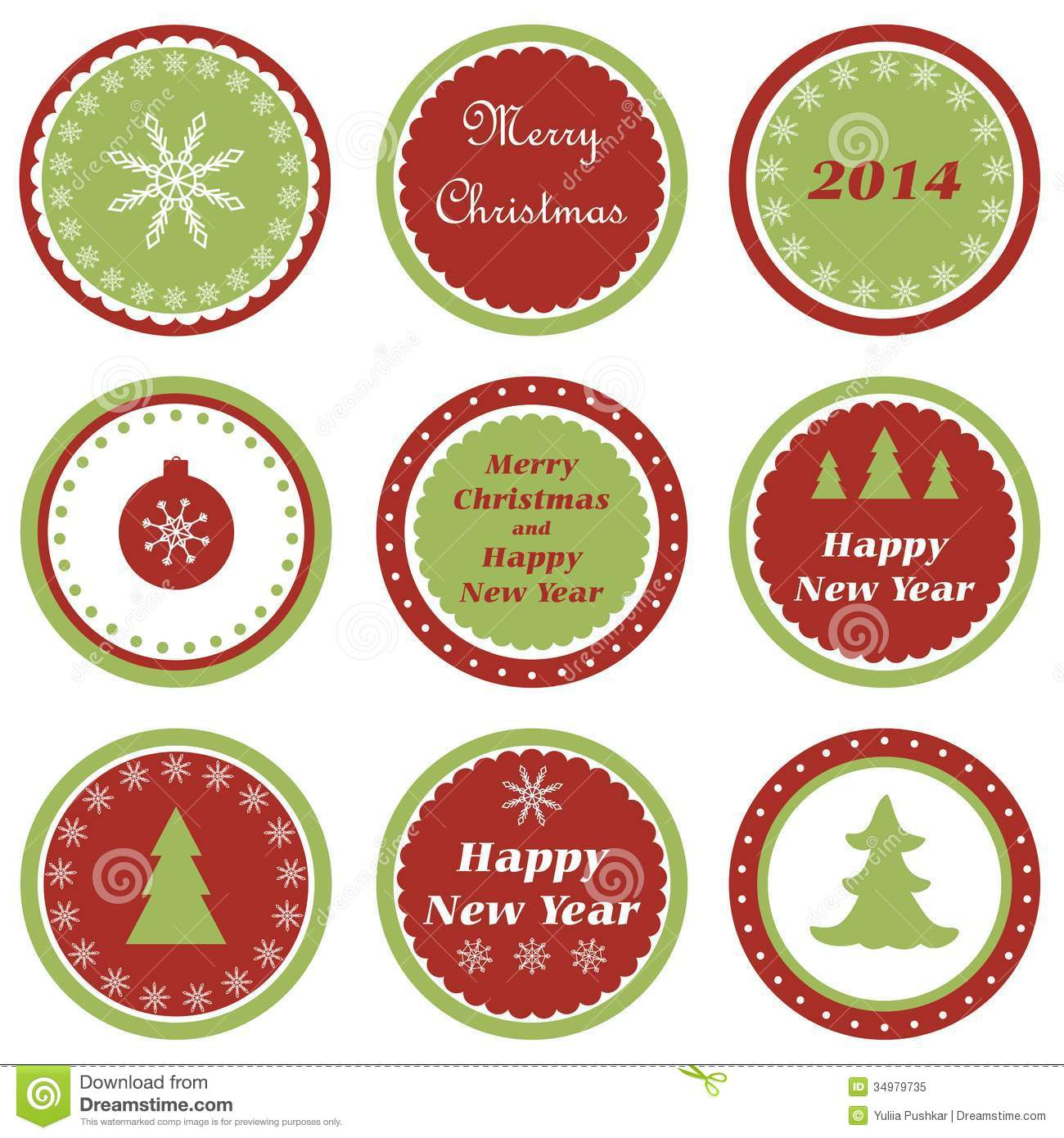 Christmas Cupcake Toppers Stock Vector Illustration Of