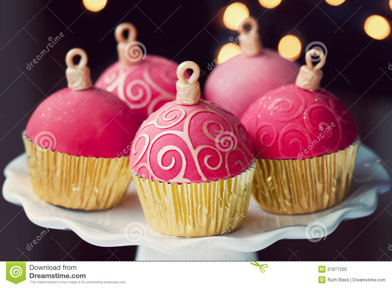 Christmas Cupcakes Stock Photo Image Of Home Baubles 21877220