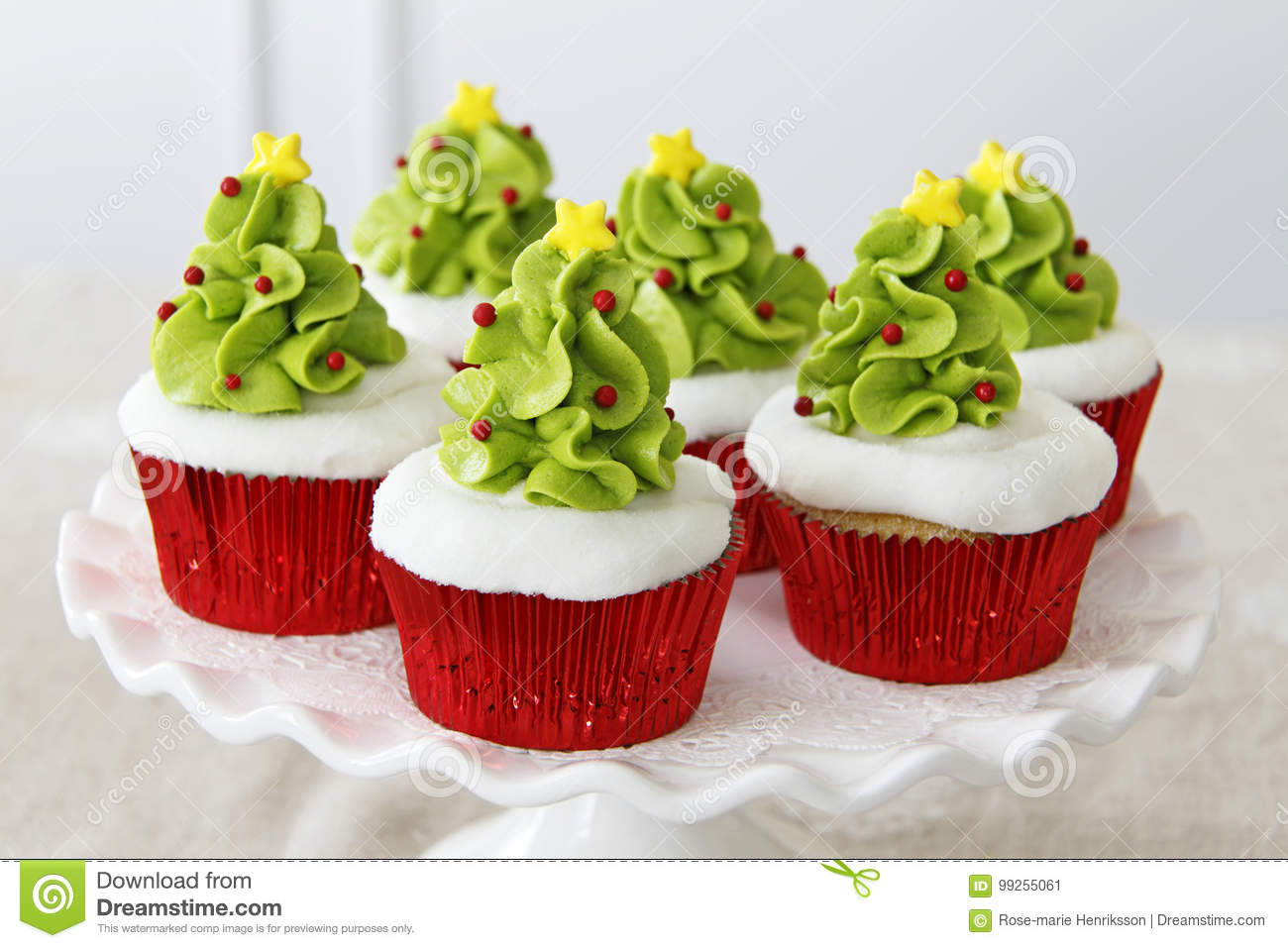 Christmas Cupcakes Stock Image Image Of Cakestand Green 99255061