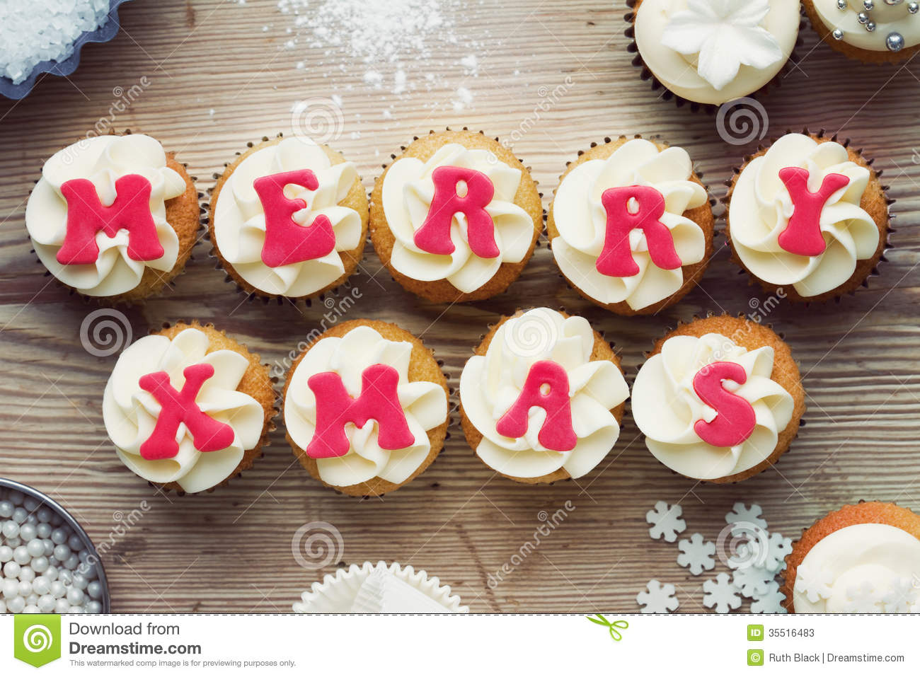 Download Christmas cupcakes stock image. Image of dessert, cakes - 35516483