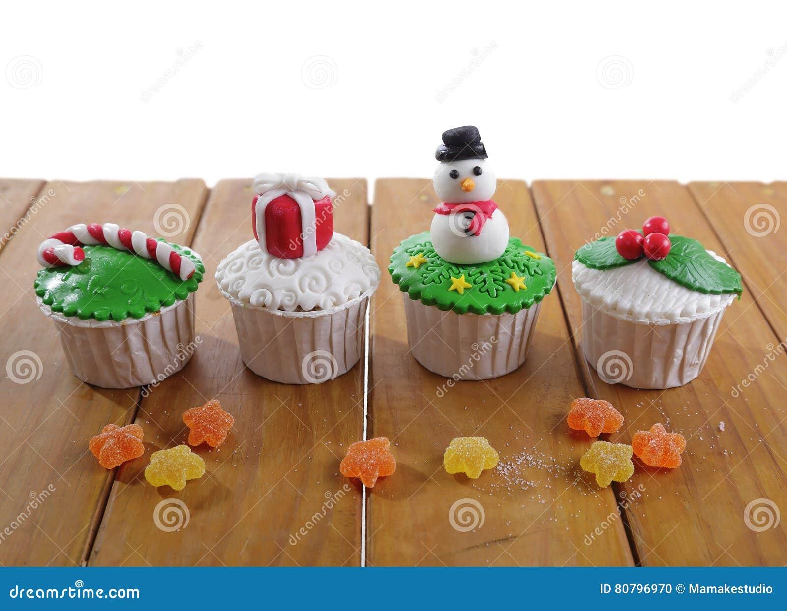 Christmas Cupcakes Stock Photo Image Of Gift Ball Green 80796970